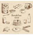 breakfast hand drawn set vector image