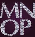 Alphabet of diamonds MNOP vector image