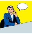 Businessman speaking by phone vector image
