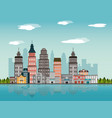 city landscape building downtown river tree design vector image