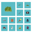 flat icons lighter barbecue hill and other vector image