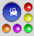 Forklift icon sign Round symbol on bright vector image