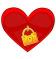 Heart locked on golden lock vector image