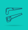 linear icon garden saw and hacksaw vector image