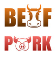 Pork and beef text logo Cows and pigs Typography vector image