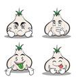 set garlic cartoon character collection vector image