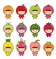 Set of kids in cute fruits costumes vector image