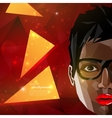 with a black african american woman face in vector image