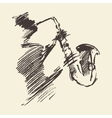 Man playing saxophone drawn sketch vector image