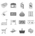 Supermarket icons set gray monochrome style vector image