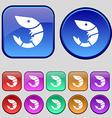 Shrimp seafood icon sign A set of twelve vintage vector image