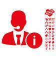 help desk icon with valentine bonus vector image