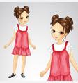 brunette girl in red sarafan vector image