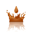 chocolate splash crown with droplet and reflection vector image vector image