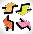 4 hand drawn color arrows vector image