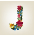 J letter Flower capital alphabet Colorful font vector image