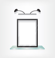 Black frame on glass shelf vector image