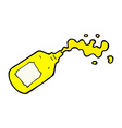 Comic cartoon squirting mustard bottle vector image