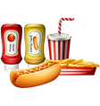Hotdog and fries with two kind of sauces vector image