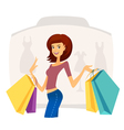 Happy beautiful woman with shopping bags vector image vector image
