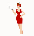 charming lady smoking mouthpiece vector image