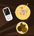 cookie mobile phone and cigarette butts top vector image