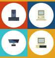 flat icon laptop set of pc computer processor vector image