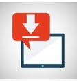 blue cartoon tablet download bubble speech vector image