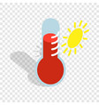 thermometer indicates high temperature isometric vector image