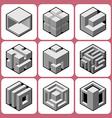 cube icon set 8 vector image vector image