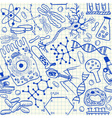 Biology doodles on school squared paper vector image vector image