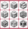 cube icon set 8 vector image