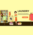 laundry horizontal banner in flat style vector image