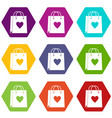 shopping bag icon set color hexahedron vector image