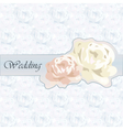 Wedding invitation with roses vector image