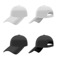 Realistic Black and White Baseball Cap Set vector image