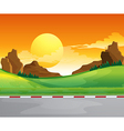 A beautiful landscape and the bright sun in the vector image vector image