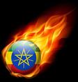 Round glossy icon of ethiopia vector image