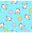Seamless pattern with easter eggs and chicken vector image