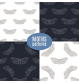 Hand drawn hawk moth seamless patterns set vector image