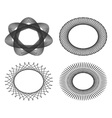 Set of oval guilloche design elements for vector image