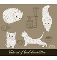 Vintage set with cute kittens vector image