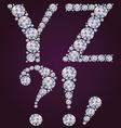 Alphabet of diamonds YZ vector image