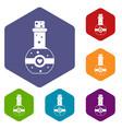 Flask of love elixir icons set vector image