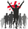 Athlete with the Georgia flag at the finish vector image vector image