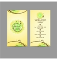 Green dising vertical card with icons of contacts vector image vector image