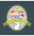 background with easter eggs and one rabbit vector image