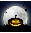 Background with moon and silhouette of pumpkin vector image