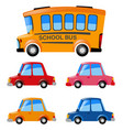 cars and school bus set vector image