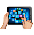 Hand holding touch pad vector image